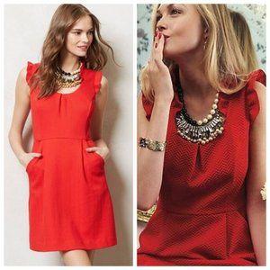 Tabitha Cherie Red Texture Ruffle Sleeveless Dress